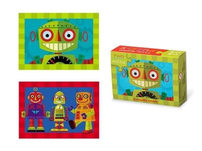 Poza produs Puzzle cu doua fete Robot